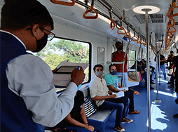 People riding a metro