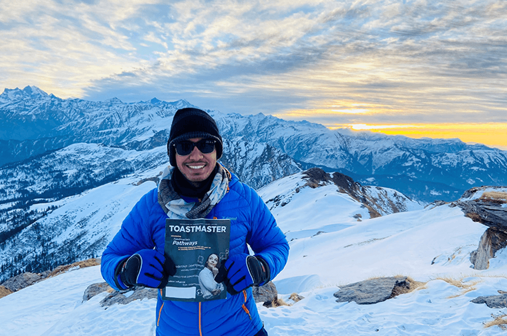 Ankit Dasgupta, DTM, of Navi Mumbai, Maharashtra, India, hikes to the peak of Kedarkantha Mountain in the Himalayas of India.