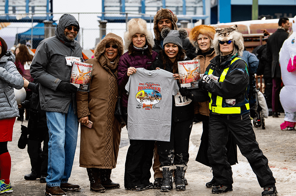 Dimond Talkers Club officers of Anchorage, Alaska, attend the 2020 Fur Rendezvous Celebration in Anchorage. Since 1935, this winter festival has featured cultural and sporting activities, town events, and winter fun.
