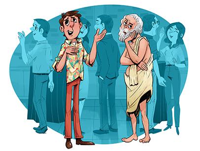Illustration of man boring someone talking