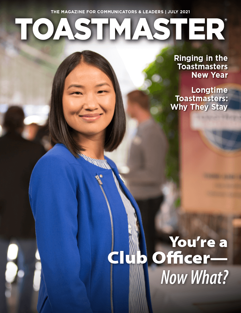 July 2021 cover of Toastmaster magazine