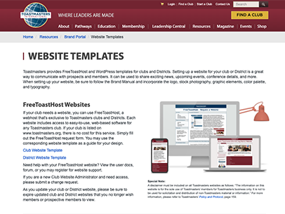 Webpage with website template content
