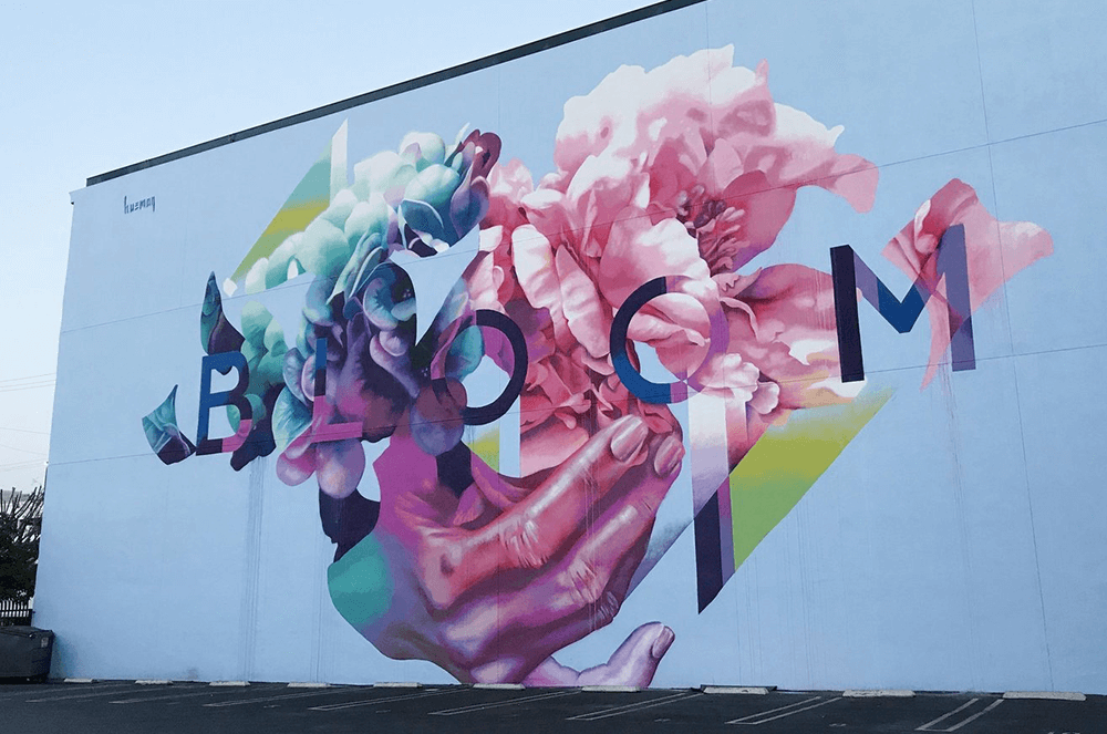 Torneros painted a wall to commemorate the late community advocate, Joel Bloom. This artwork is located in Bloom Square in the DTLA Arts District.