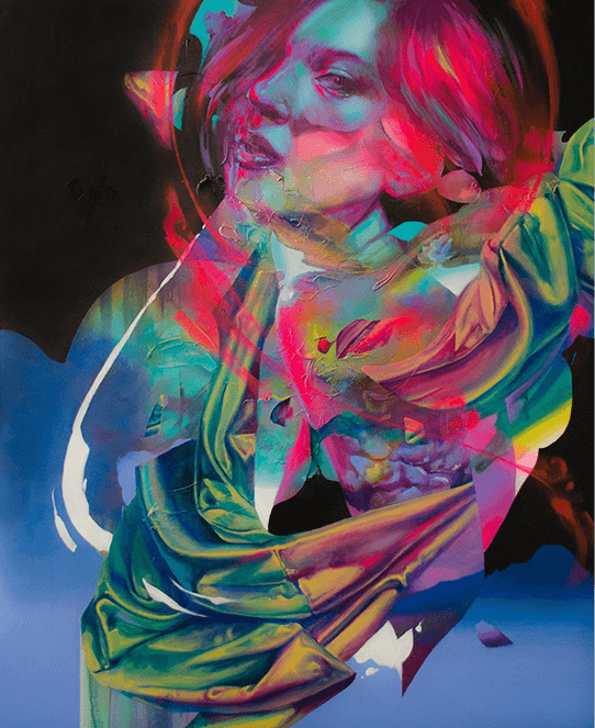 """Created from acrylic and spray paint on canvas, """"Electric Blanket"""" was created for """"Firoritura"""" at Corey Helford Gallery in Los Angeles, California."""