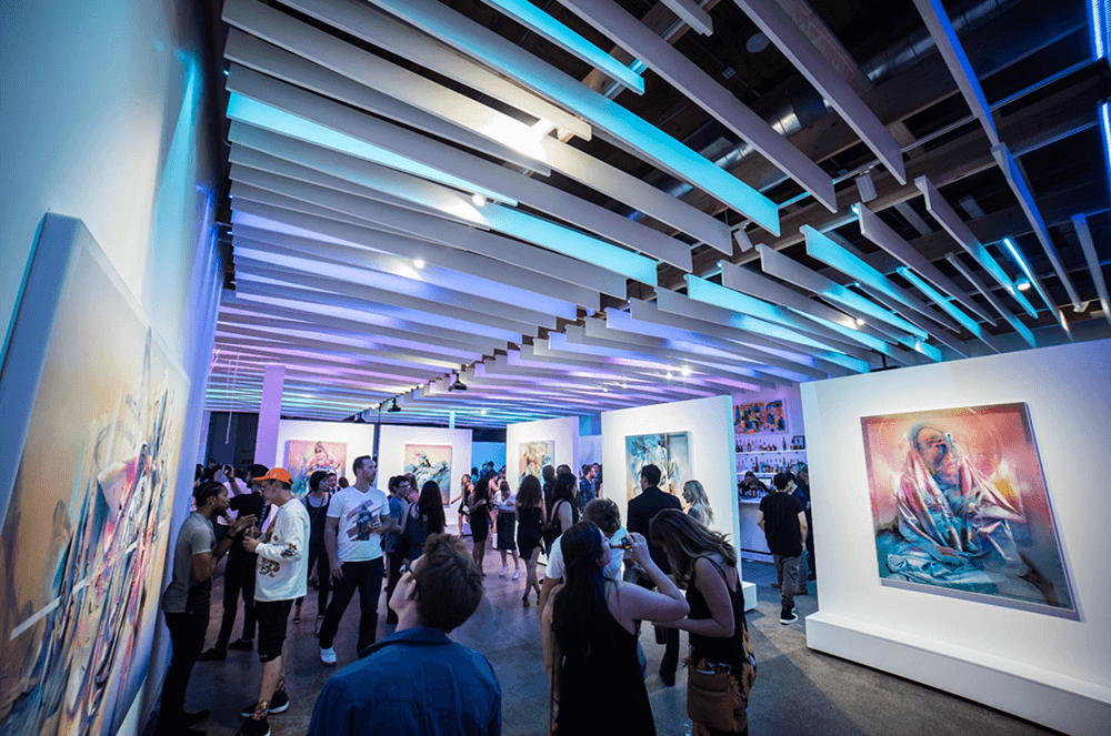 Visitors flock to the Mirus Gallery in San Francisco, California, to see Torneros' artwork.