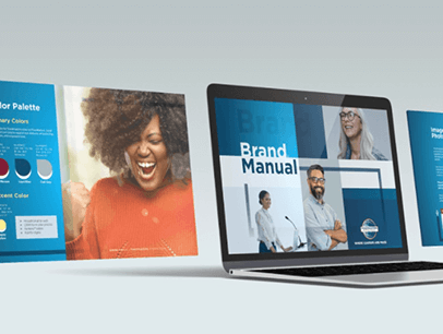 Brand manual on laptop