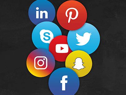 Social media icons floating