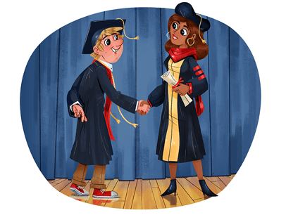 Illustration of two men in cap and gown shaking hands