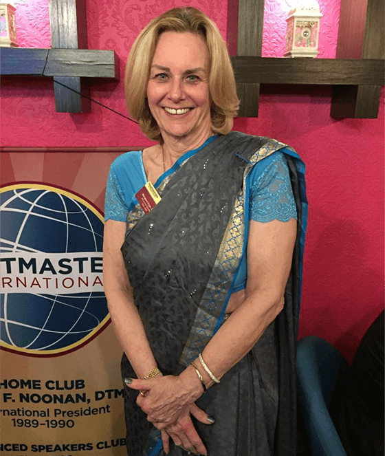 Dressed in a sari, Page attends a themed meeting that took place at an East Indian restaurant with her advanced dinner club.