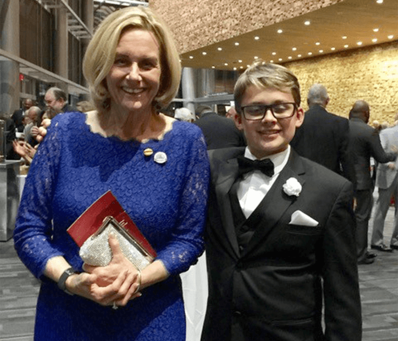Page and her grandson, Gavin, in their formal wear at the 2017 International Convention in Vancouver, Canada.