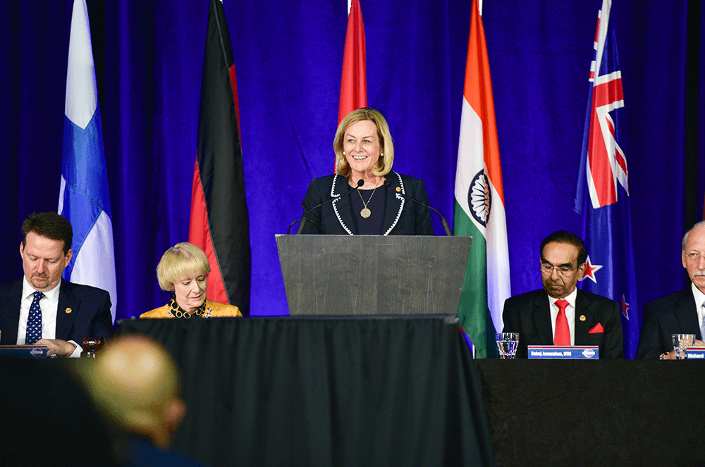 Page addresses the audience as Second Vice President during the Board briefing at the 2019 International Convention in Denver, Colorado.