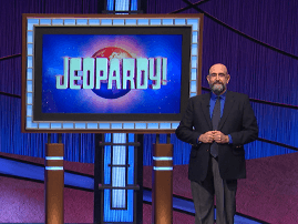Aaron Rodgers and Dennis Chase on Jeopardy show