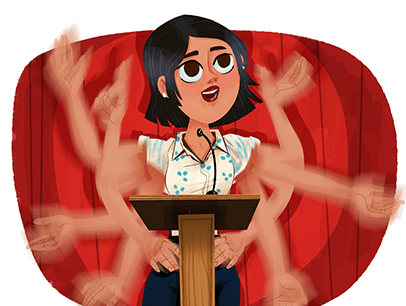 Illustration of woman quickly gesturing at podium