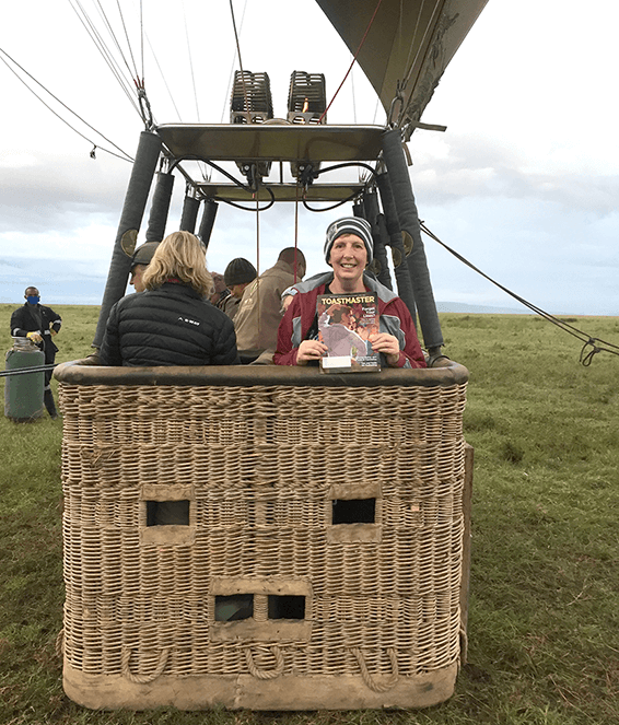 Shirley Anne Van Rensburg of New Germany, South Africa, celebrates her 60th birthday in a hot air balloon in the Serengeti of Tanzania.