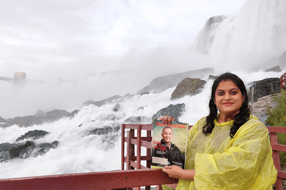 Sonia Keswani, DTM, of Udaipur, Rajasthan, India, visits Niagara Falls on the United States side, prior to the pandemic. The group of waterfalls span the border between Canada and the state of New York.