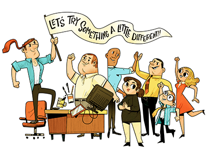 Illustration of man holding up banner with employees cheering