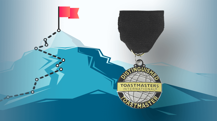 Illustrated mountain with path leading to flag with DTM medallion