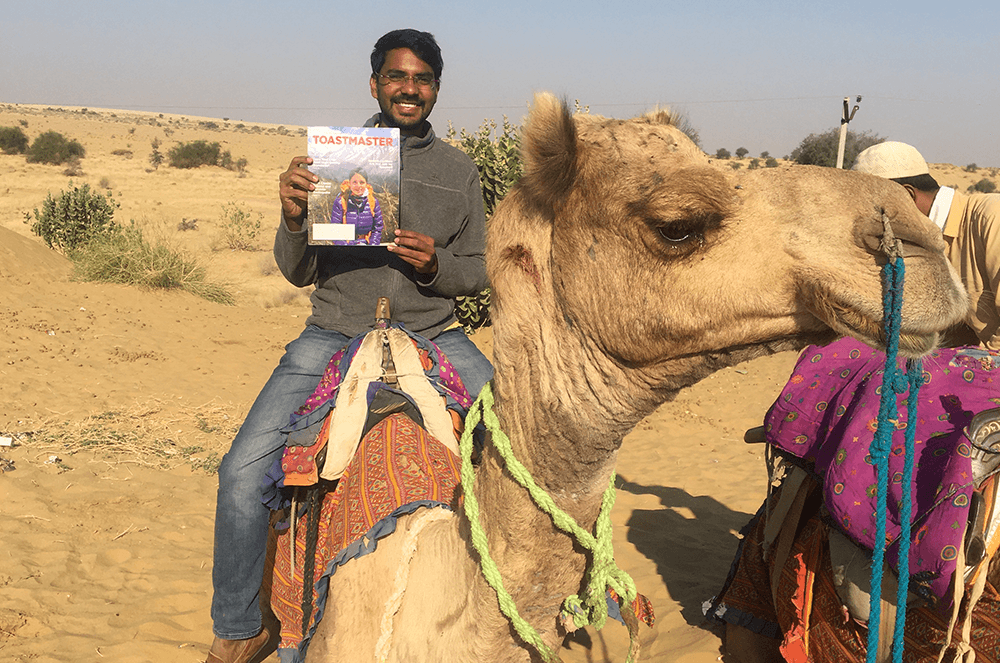 Gagan Kumar Mogilineni of Vijayawada, Andhra Pradesh, India, rides a camel in the Rajasthan state area of the Thar Desert, also known as the Great Indian Desert.