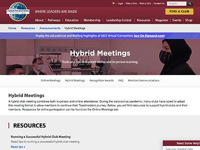 Webpage on hybrid meetings