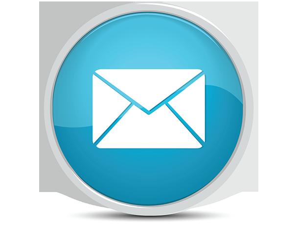 White envelope on blue background