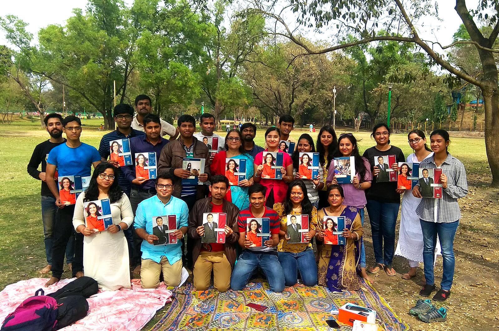 IN-Steel Toastmasters club members meet at Jubilee Park in Jamshedpur, India.