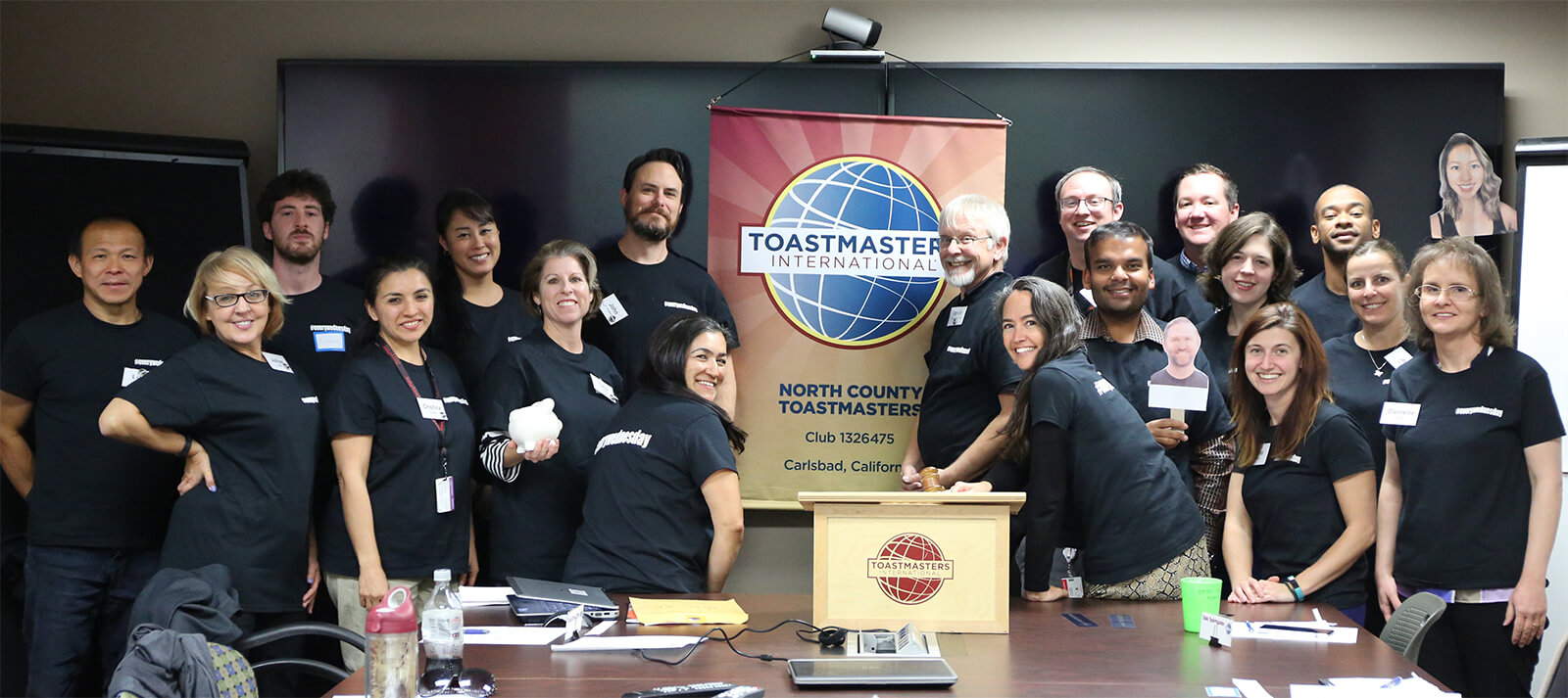Members of North County Toastmaster club in Carlsbad, California, participate in their #everywednesday campaign to increase awareness and network with colleagues within their company.