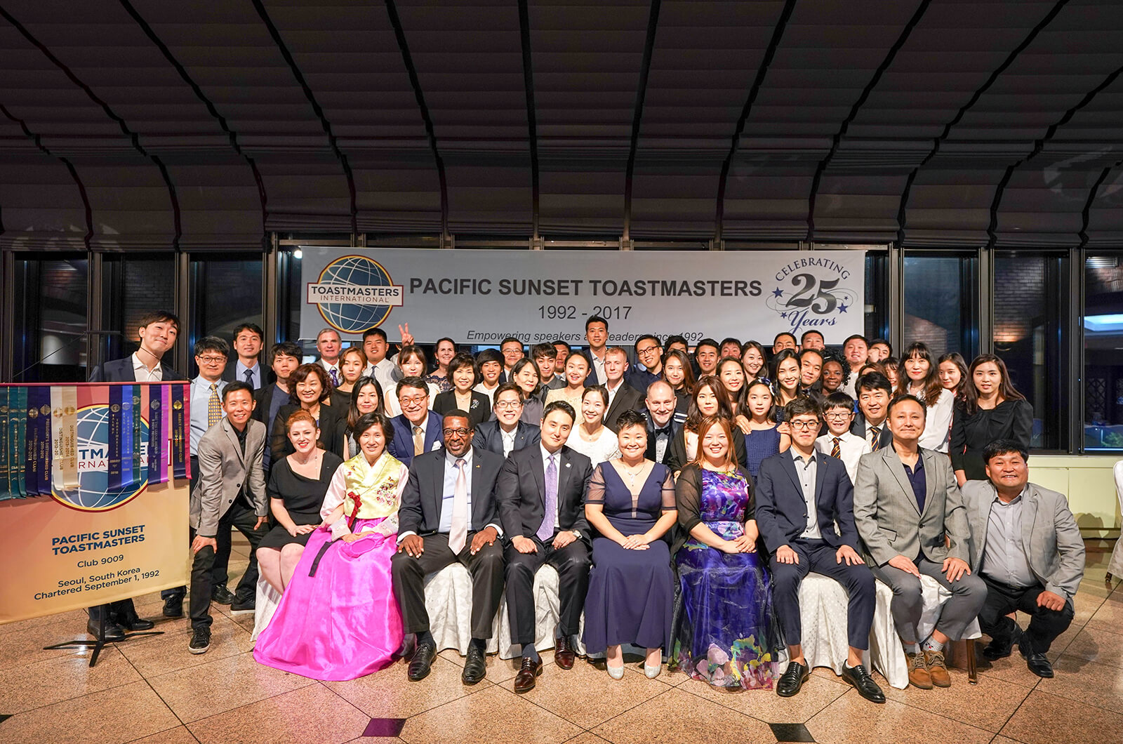 Pacific Sunset Toastmasters of Seoul, South Korea, celebrates its 25th anniversary.