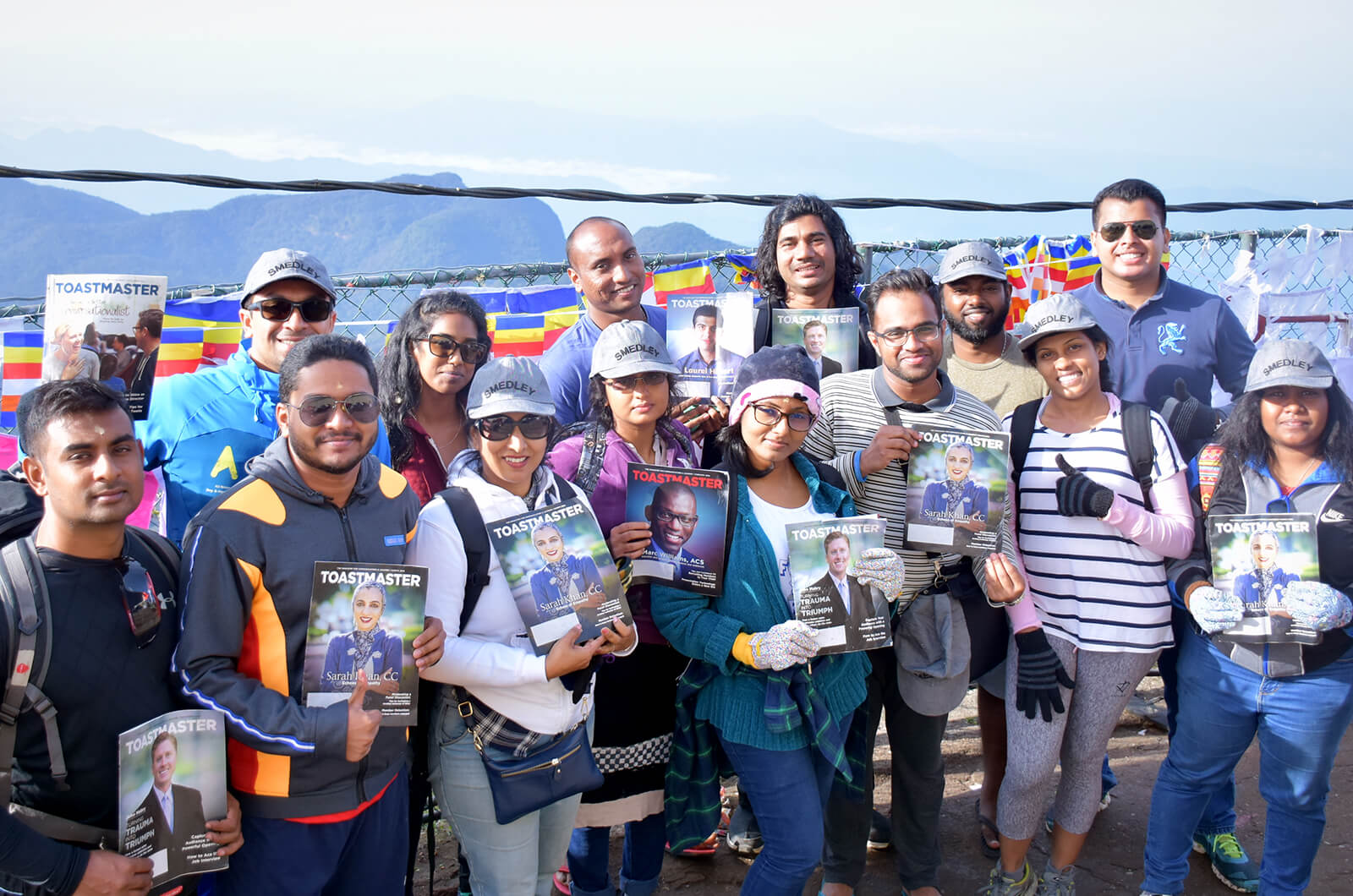 Members of Smedley Toastmasters club in Kalubowila, Dehiwala-Mount Lavinia, Sri Lanka, celebrate their 14th anniversary on the 2,243-meter/7,359-foot Mount Sri Pada (also known as Adam's Peak) in Sabaragamuwa Province.