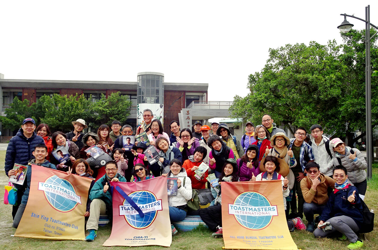 Members and guests of more than eight clubs in District 67 in Taiwan gather for a bird-watching outing.