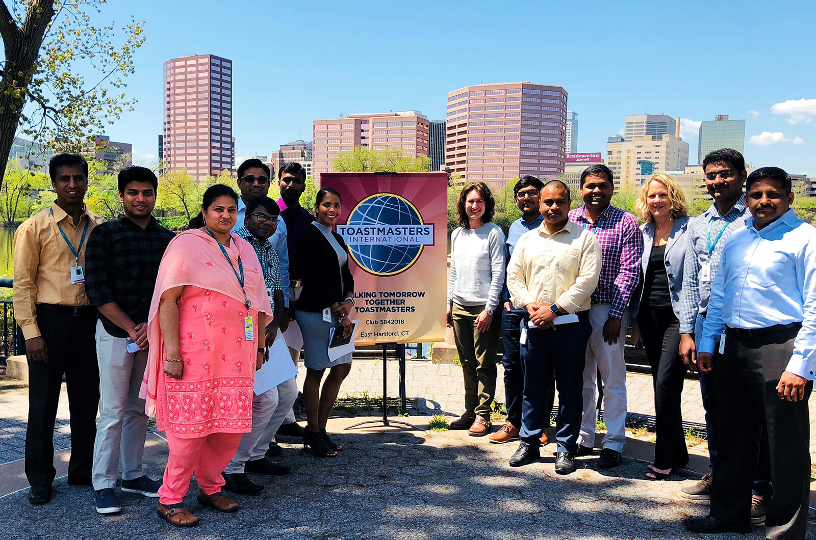 Members of the Talking Tomorrow Together Toastmasters club in East Hartford, Connecticut, celebrate their one-year anniversary.