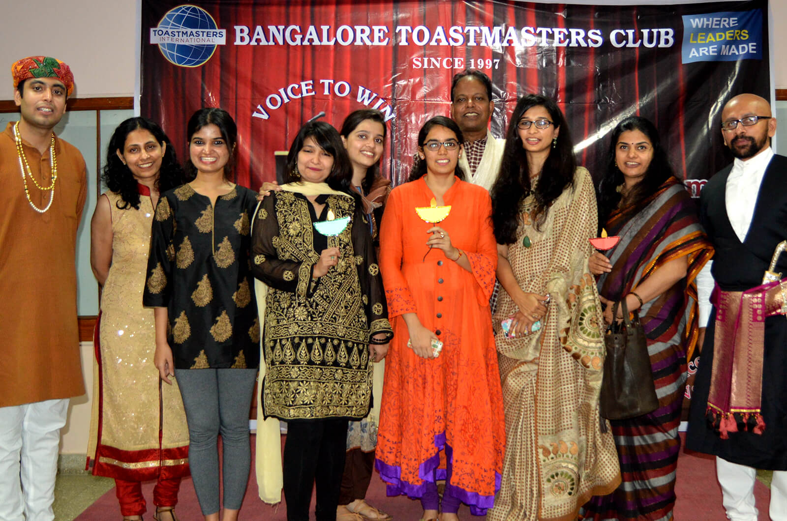 Members of the Bangalore Toastmasters club donned traditional Indian dress during their weekly meeting to celebrate Diwali festival.