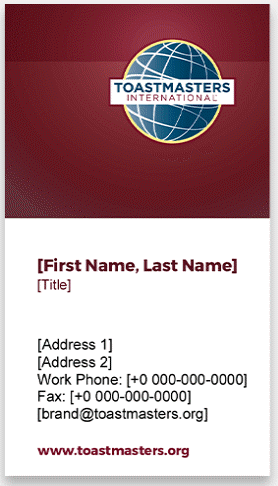 Toastmasters Business Cards vertical 3 thumbnail