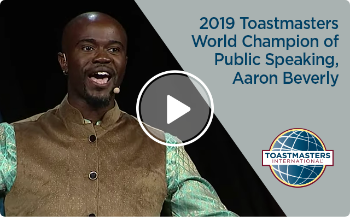 photo of 2019 Toastmasters World Champion of Public Speaking, Aaron Beverly