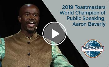 photo of 2019 Toastmasters World Champion of Public Speaking, Aaron Beverly