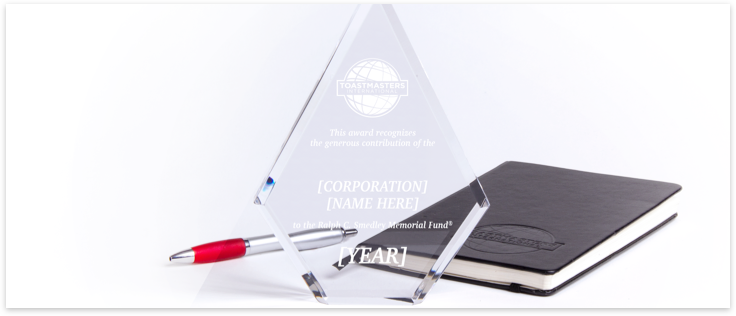 Smedley Fund Contributor Engraved Trophy, Notebook and a Pen