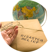 Open Hand on an Envelope with a Globe in the Background