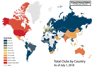 Total Clubs by Country 2018