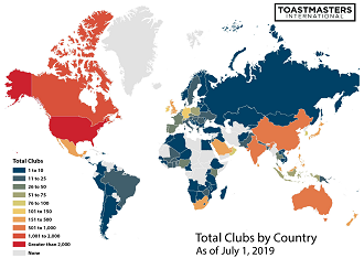 Total Clubs by Country 2019