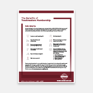 The Benefits of Toastmasters Membership (Digital)