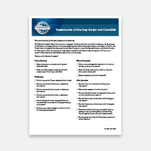 Toastmaster Script and Log